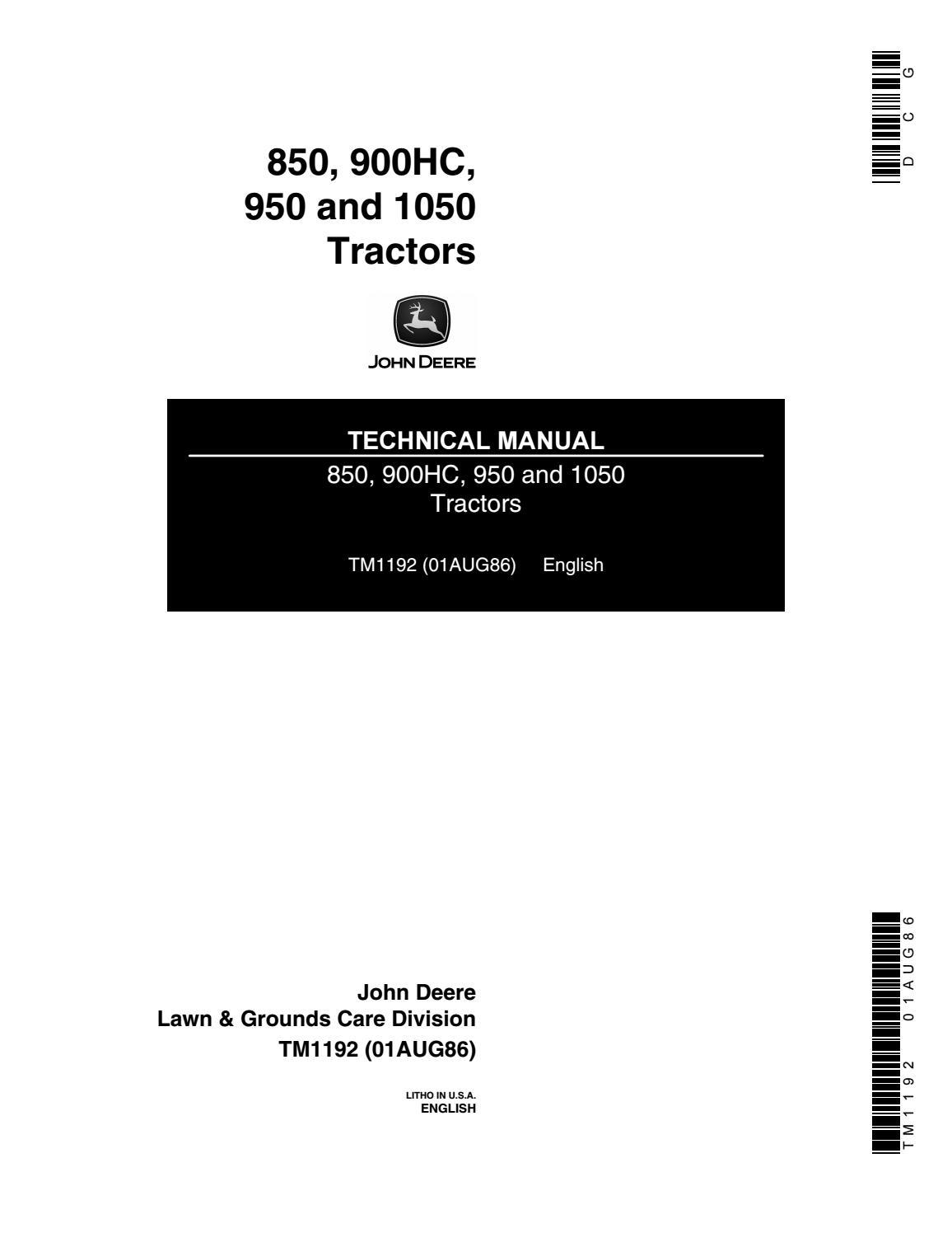 John deere 950 tractor service repair manual by 1635217