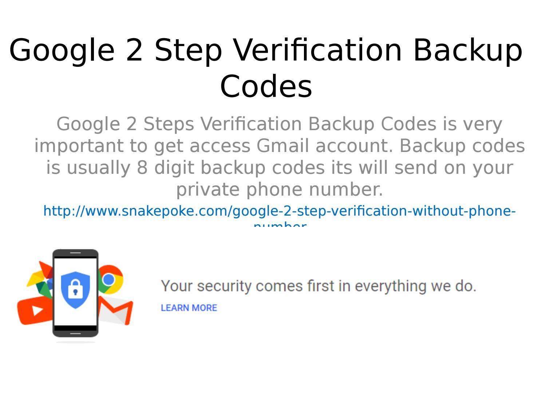 Manually Google 2 Step Verification Backup Codes by markwaugh - Issuu