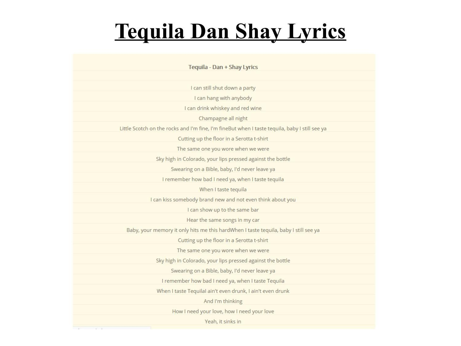 Tequila Dan Shay Lyrics by azlyricscc  Issuu