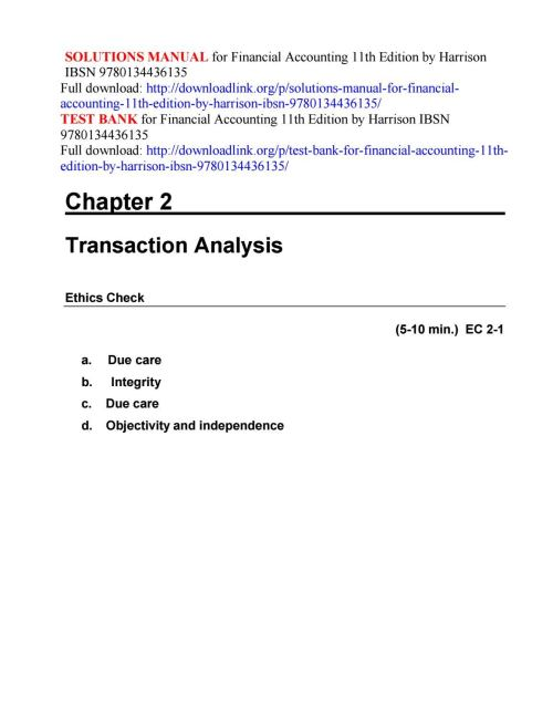 small resolution of Solutions manual for financial accounting 11th edition by harrison ibsn  9780134436135 by ftgaec - issuu
