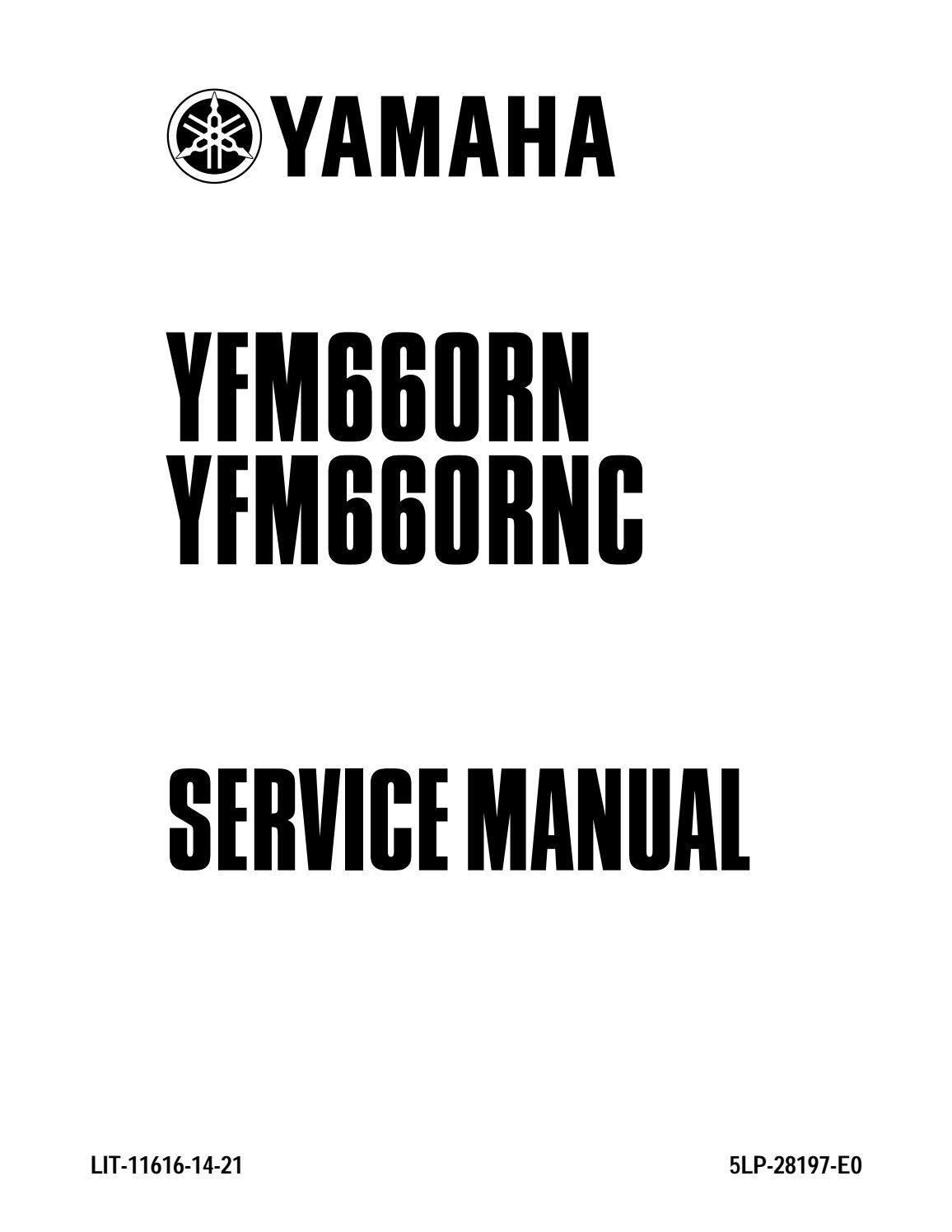 2001 YAMAHA YFM660 RAPTOR Service Repair Manual by 163615