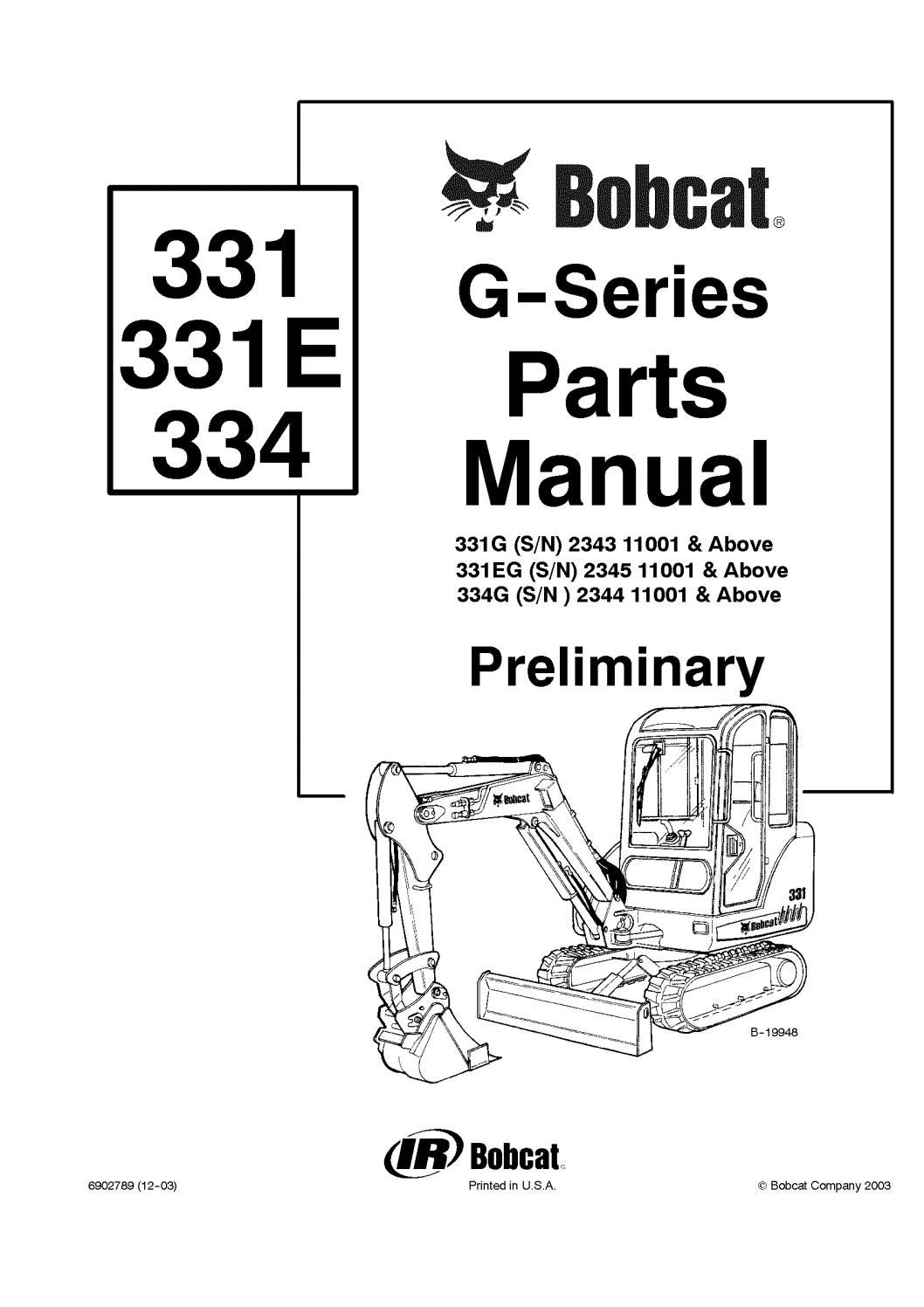 hight resolution of bobcat 331g excavator parts catalogue manual sn 234311001 and above by 163610 issuu