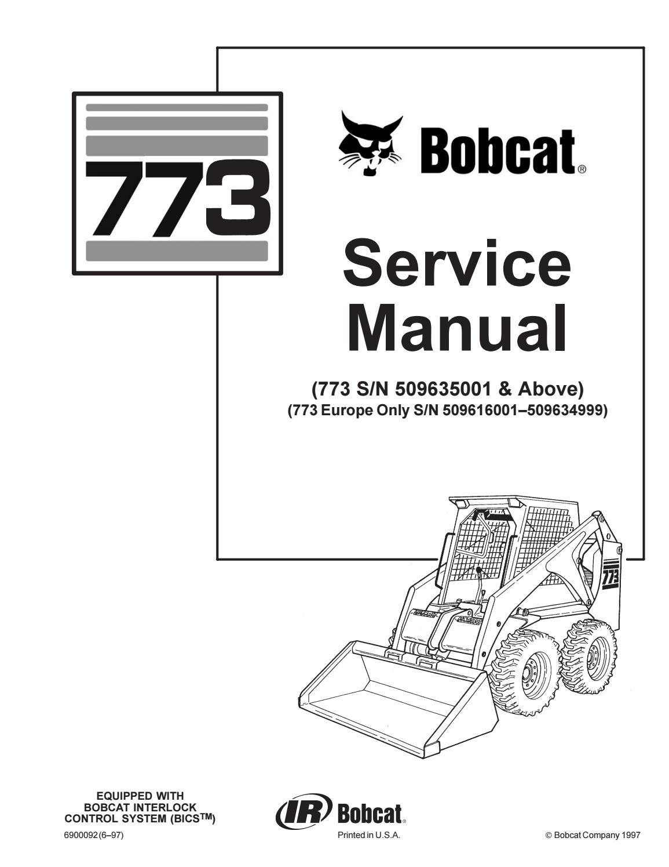 BOBCAT 773 SKID STEER LOADER Service Repair Manual Europe