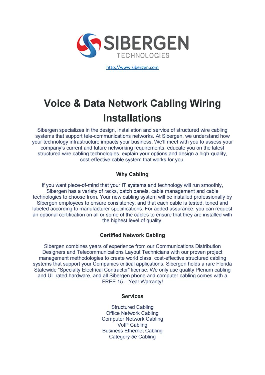 hight resolution of voice and data cabling services