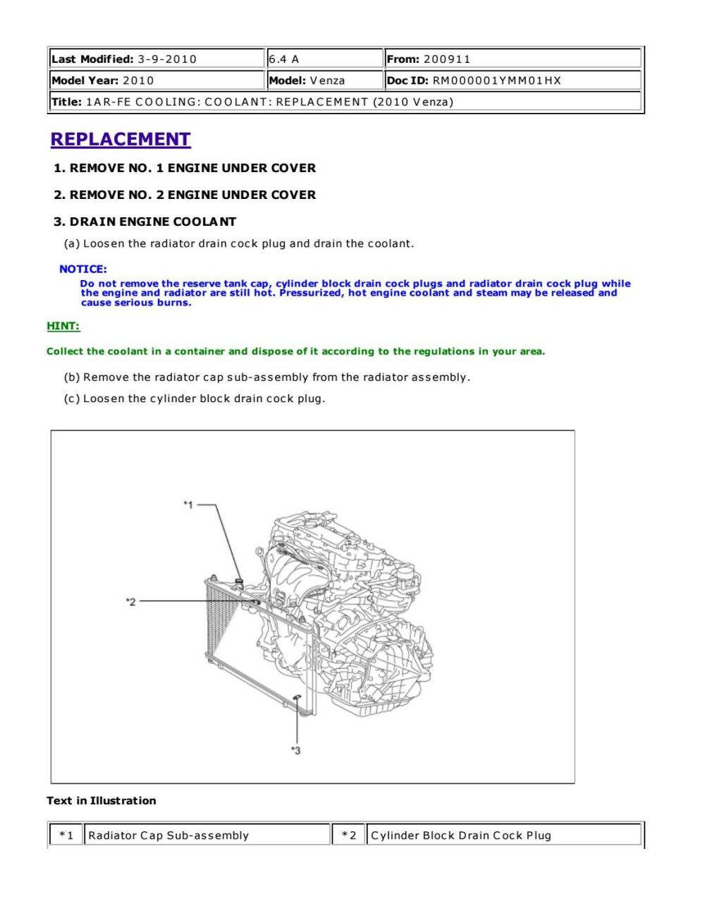 medium resolution of 2011 toyota venza service repair manual