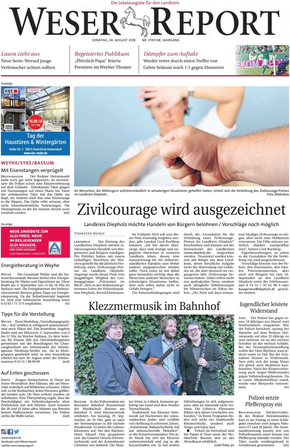 Weser Report - Weyhe, Syke, Bassum Vom 26.08.2018 By Kps