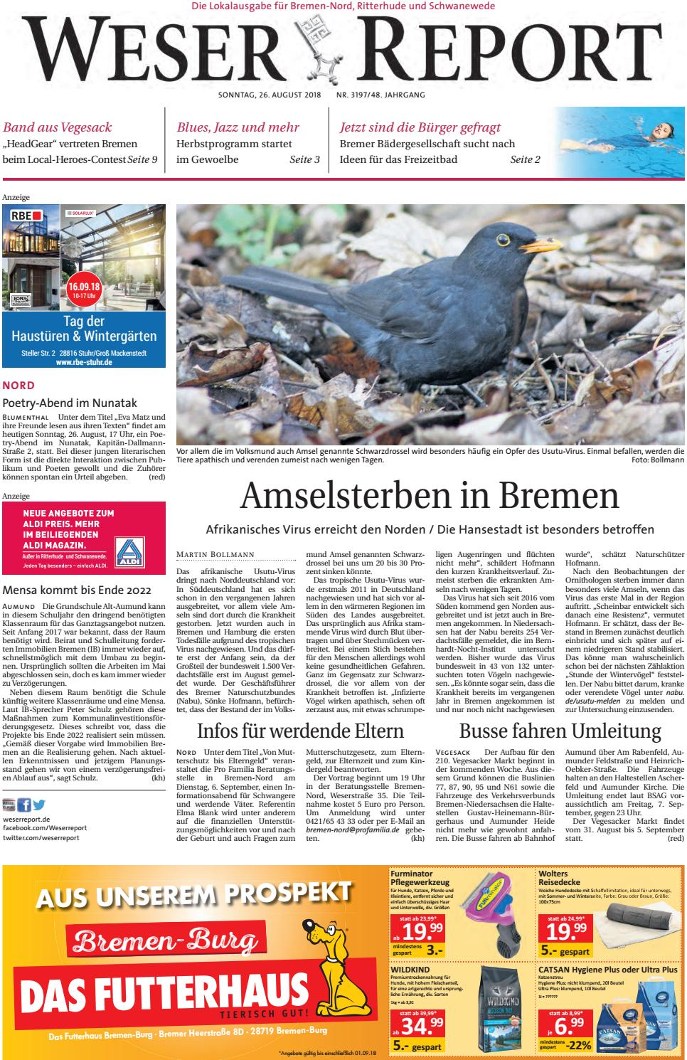 Weser Report - Nord Vom 26.08.2018 By Kps Verlagsgesellschaft Mbh