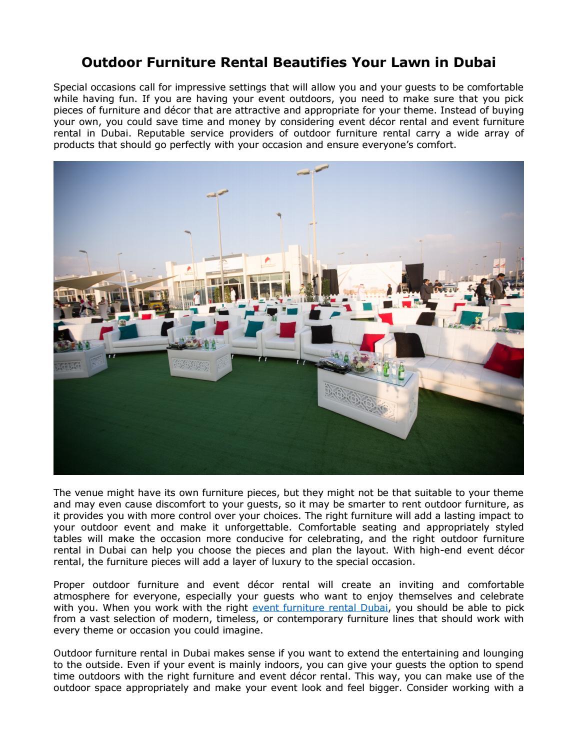 Outdoor Furniture Rental Beautifies Your Lawn In Dubai By Areeka Event Rentals Dubai Issuu