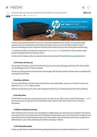 Printer Hp 415 : printer, Reasons, Business, Multi-Functioning, Printer, WantITbuyIT, Issuu