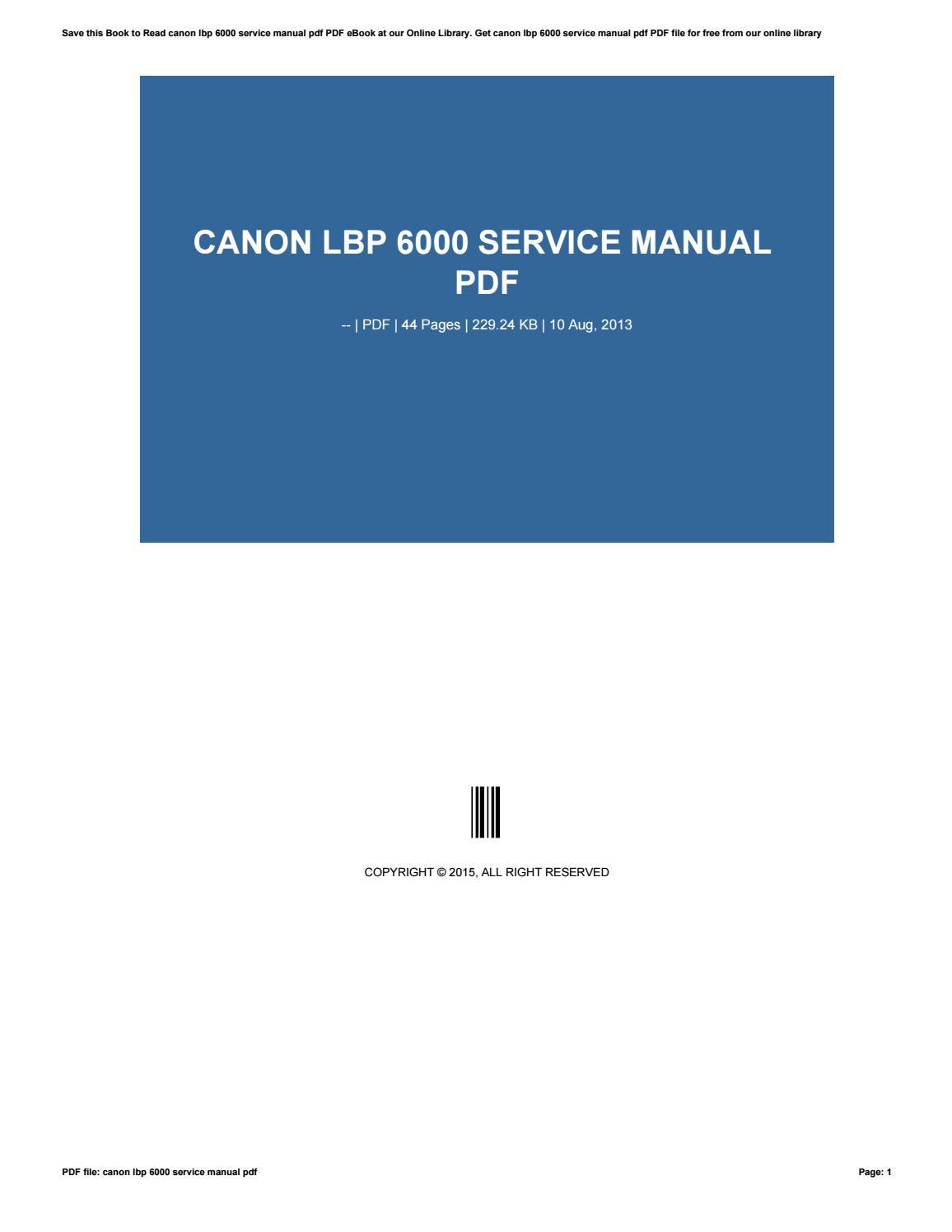 Canon Lbp 6000 Driver Download Free : canon, driver, download, Canon, Service, Manual, Cooperdonald421, Issuu