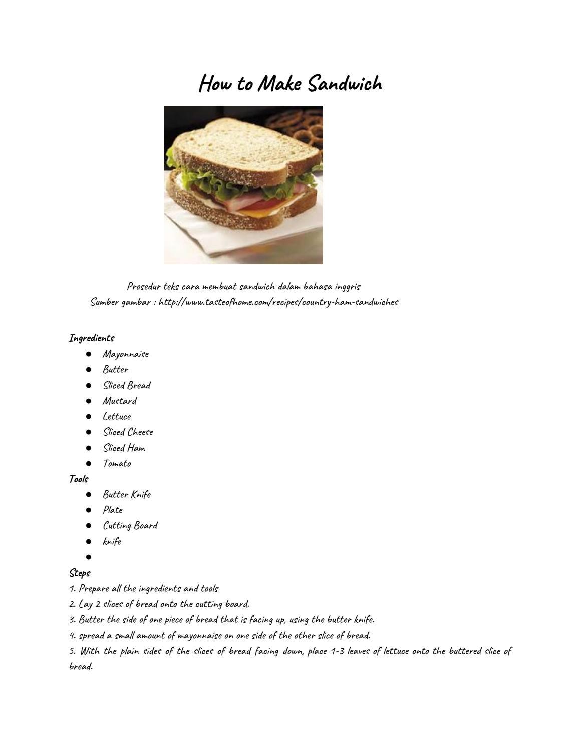 Procedure Text How To Make Sandwich : procedure, sandwich, Sandwich, Billjfranke, Issuu