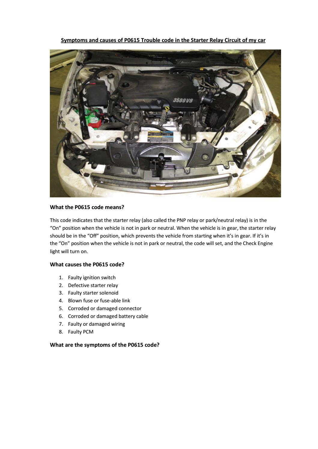 hight resolution of partsavatar canada symptoms and causes of p0615 trouble code in the starter relay circuit of car