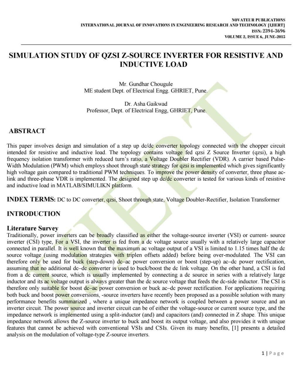 medium resolution of ijiert simulation study of qzsi z source inverter for resistive and inductive load