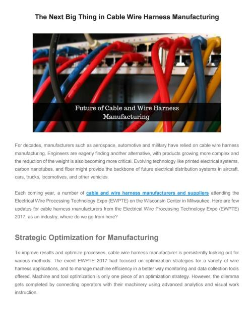 small resolution of the next big thing in cable wire harness manufacturing by printed circuits corp issuu