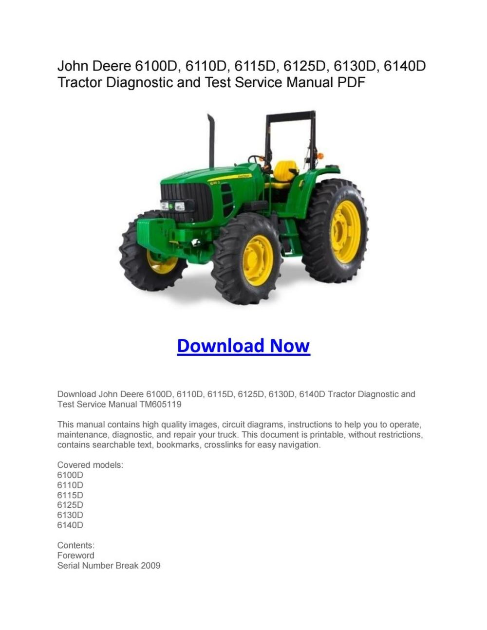 medium resolution of john deere 6100d 6110d 6115d 6125d 6130d 6140d tractor diagnostic and test service manual pdf by larry sprouse issuu