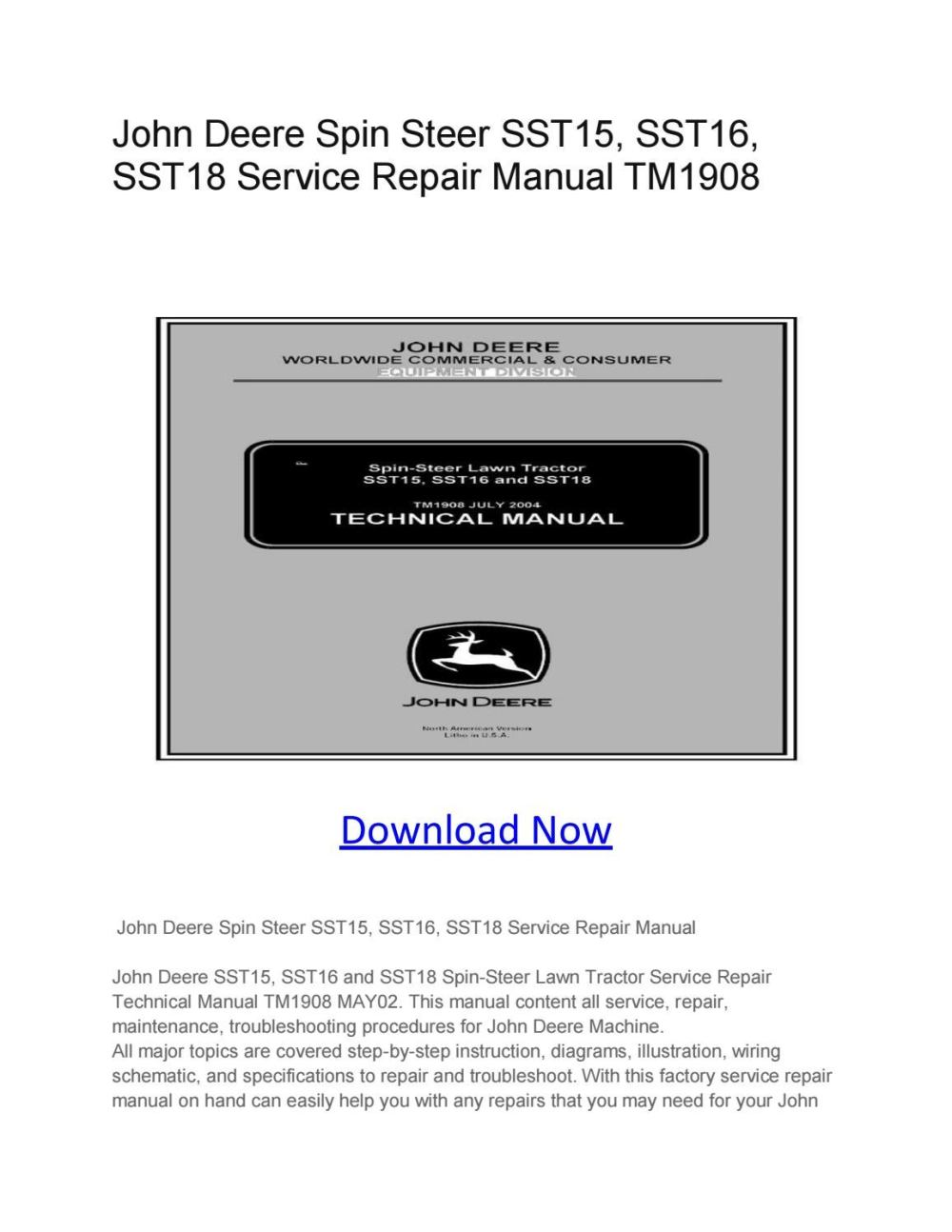 medium resolution of john deere spin steer sst15 sst16 sst18 service repair manual tm1908 by larry sprouse issuu