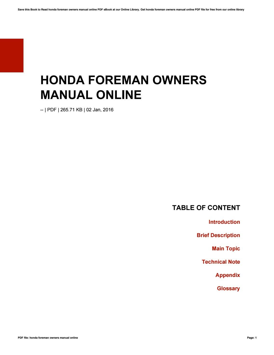 Honda Foreman Owners Manual Online by vernoncummings986