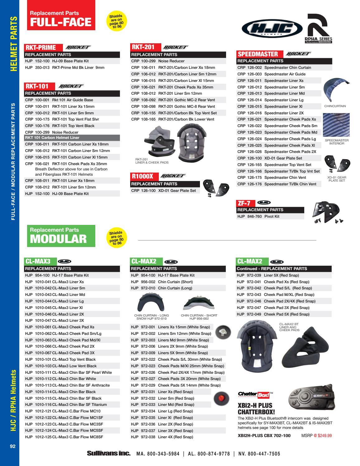 hjc cl max3 cheek pad set 3x black 1010 067