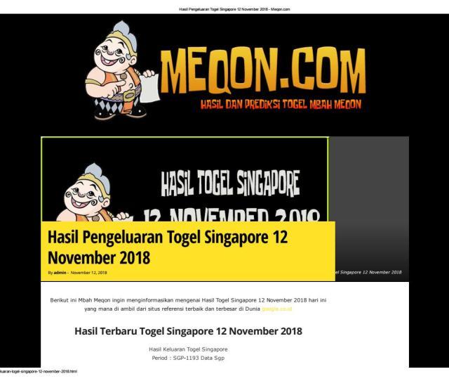 Hasil Pengeluaran Togel Singapore  Meqon By