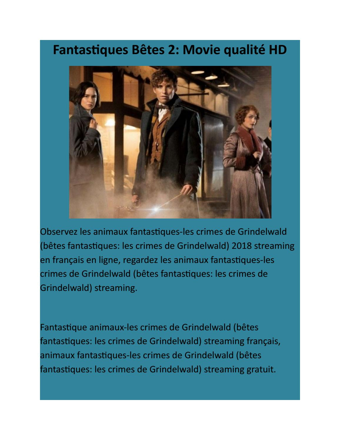 Les Animaux Fantastiques 2 Streaming Vf Hd : animaux, fantastiques, streaming, Fantastic, Bêtes, Crimes, Grindelwald, Qualité, Orange, Black, Issuu
