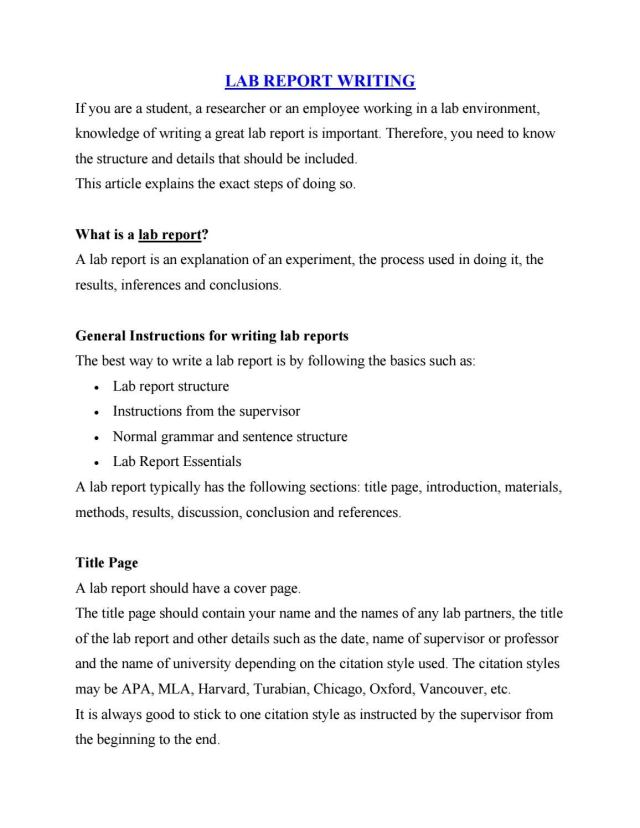 How to write a great lab report by Cutewriters.com - issuu