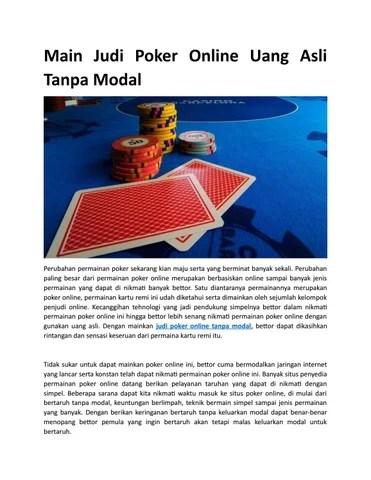 Main Poker Tanpa Modal Dapat Uang : poker, tanpa, modal, dapat, Poker, Online, Tanpa, Modal, Issuu