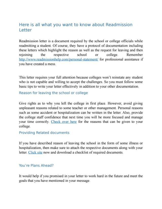Here is all what you want to know about Readmission Letter by