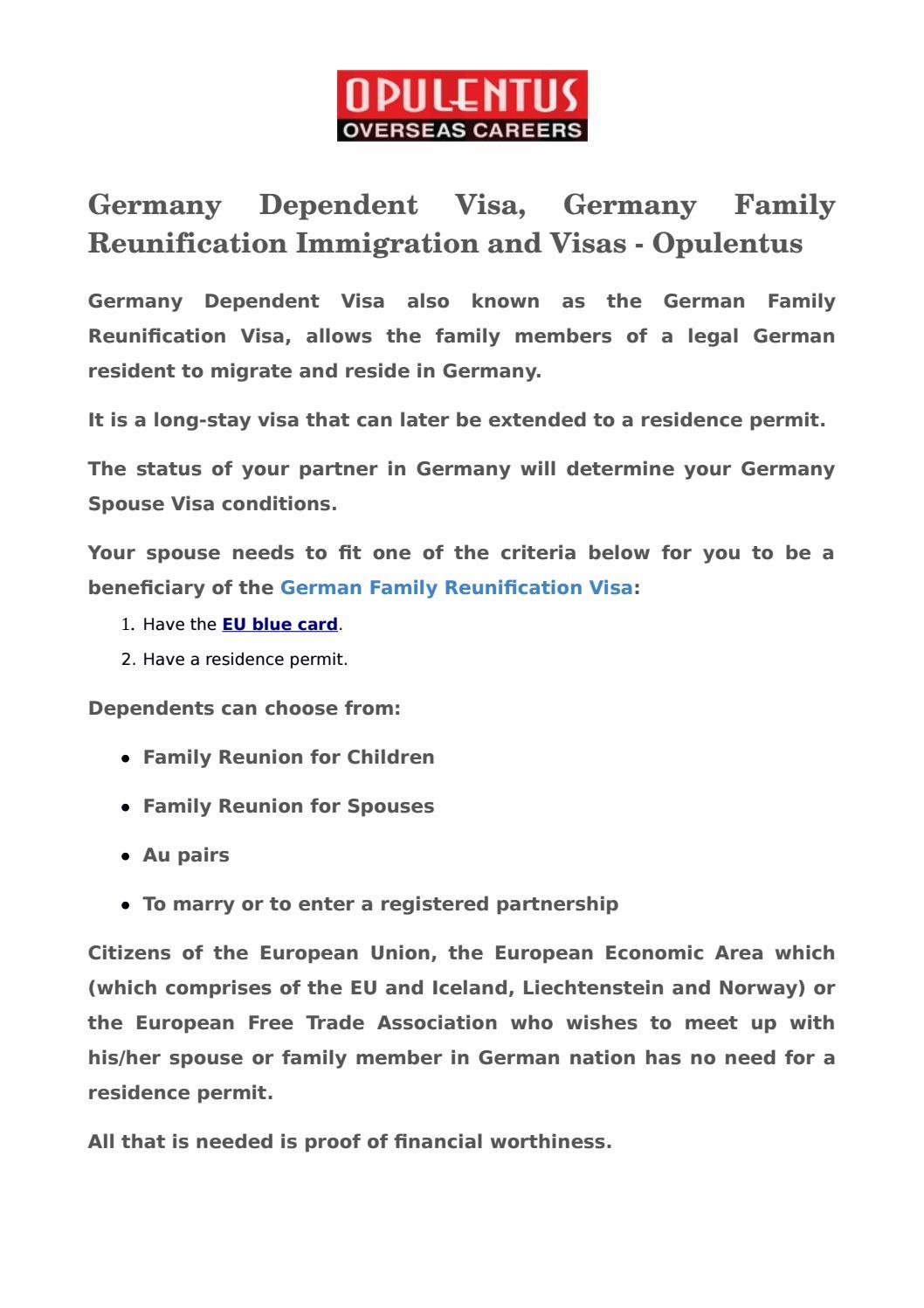 germany dependent visa germany family