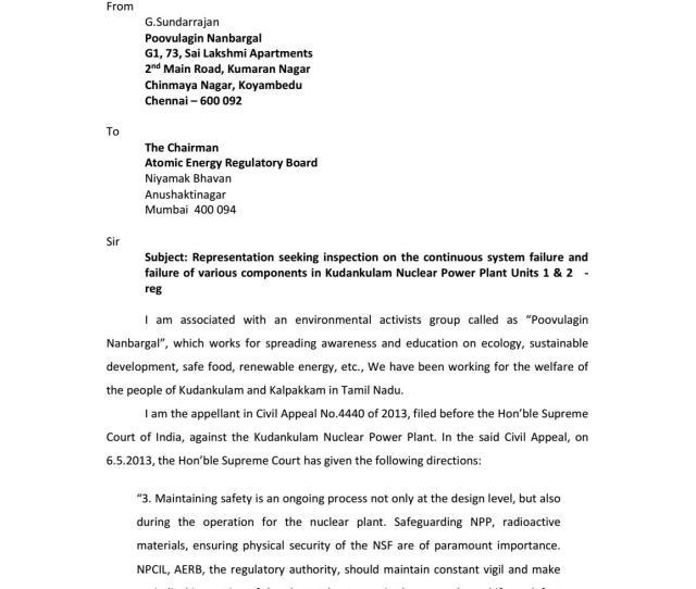 Failures Of Kudankulam Nuclear Power Plant Units   Representation By Environmental Organisation By Dianuke Issuu