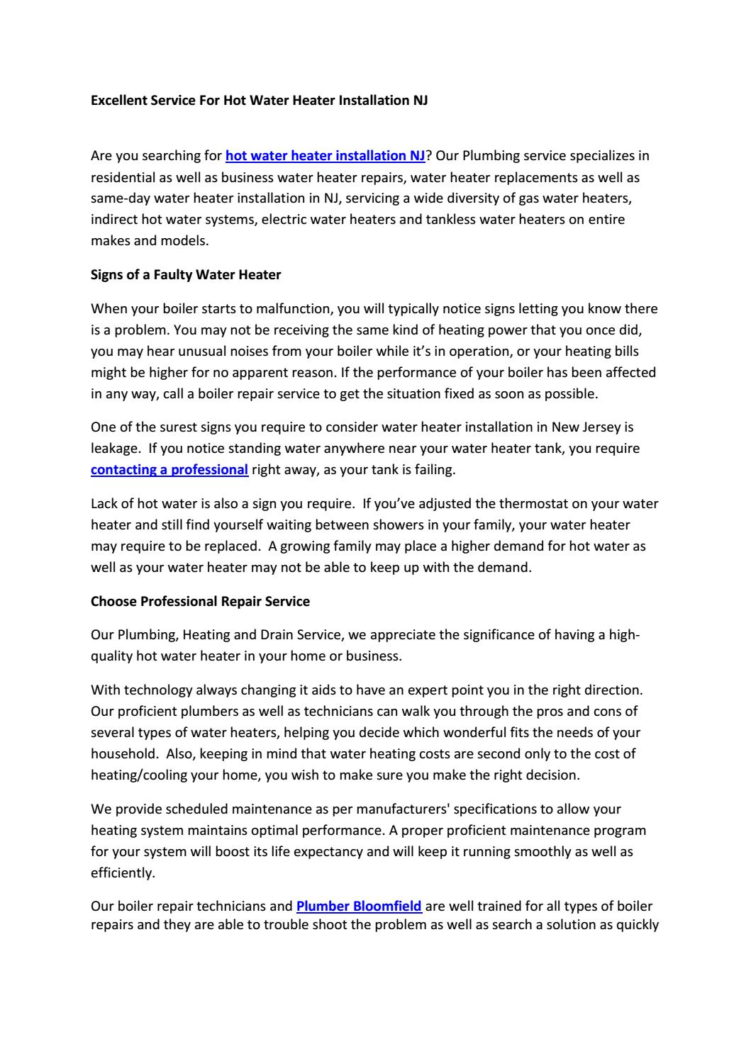 Indirect Hot Water Heater Problems : indirect, water, heater, problems, Excellent, Service, Water, Heater, Installation, T-Mont, Plumbing, Heating, Issuu