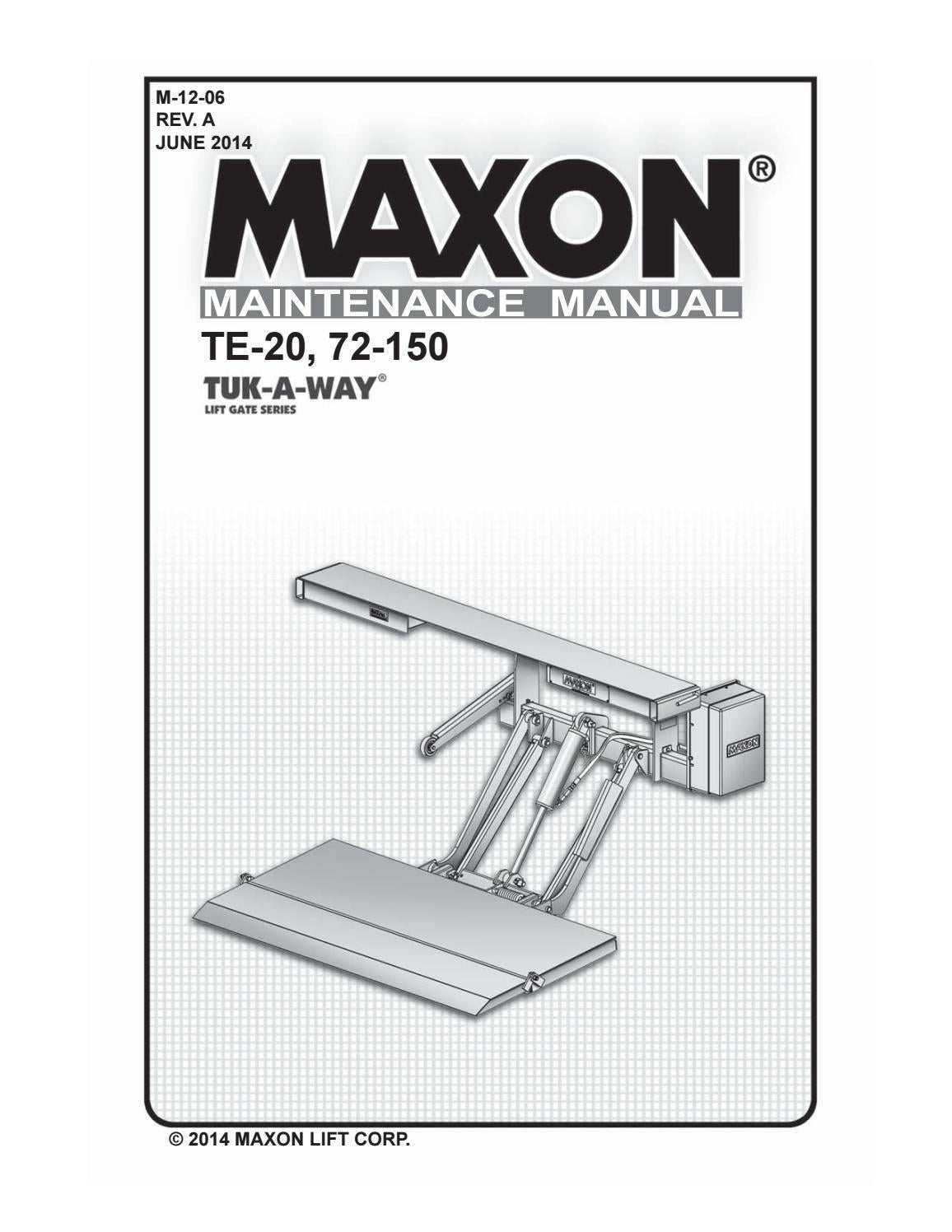 hight resolution of maxon 72 150 te 20 liftgate parts manual