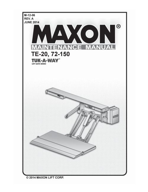 small resolution of maxon 72 150 te 20 liftgate parts manual