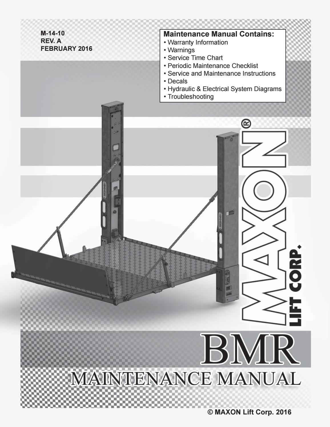 hight resolution of maxon bmr series liftgate parts manual 2016