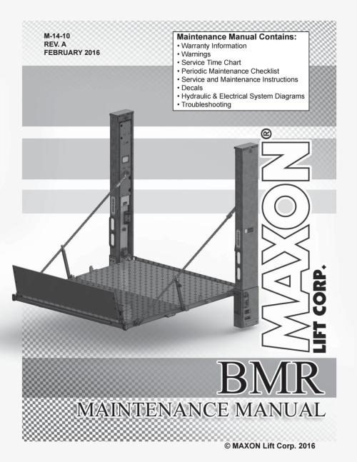 small resolution of maxon bmr series liftgate parts manual 2016