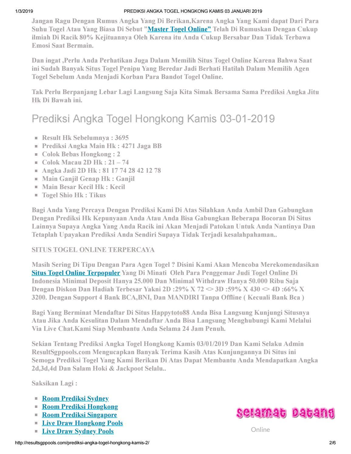 Prediksi Hk Master Hongkong Kamis : prediksi, master, hongkong, kamis, Prediksi, Angka, Togel, Hongkong, Kamis, Januari, Angelina1310, Issuu