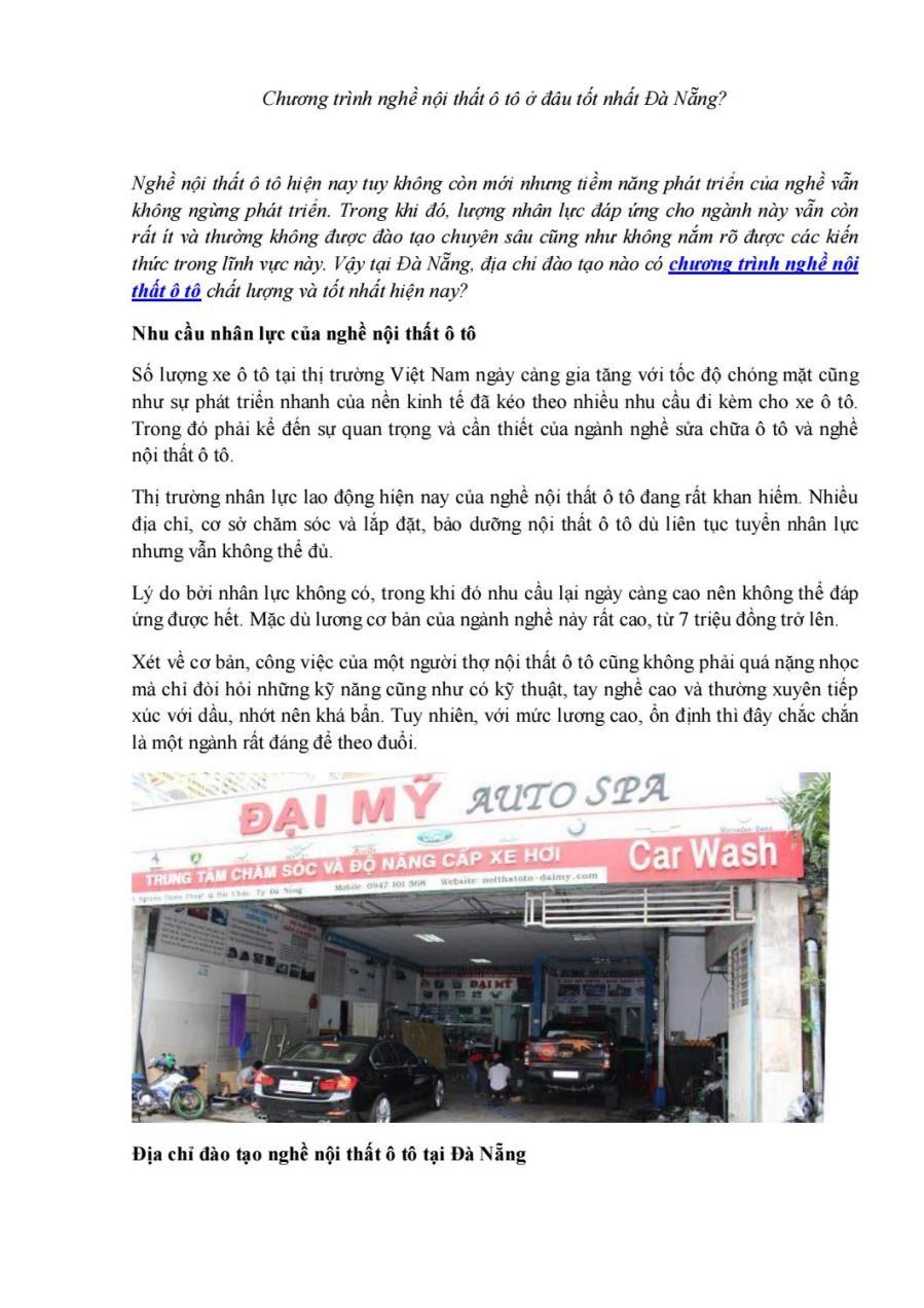 Chương trình nghề nội thất ô tô ở đâu tốt nhất Đà Nẵng? by Đại Mỹ Ô tô - issuu