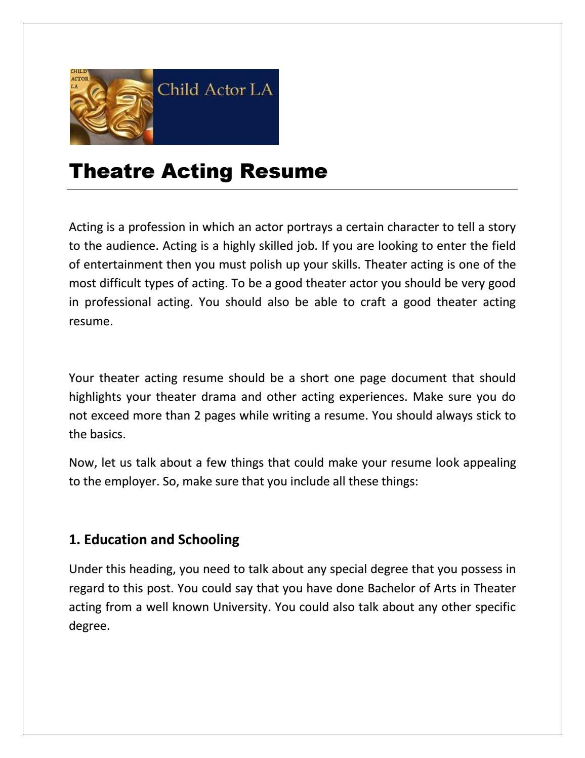Child Resume Theatre Acting Resume By Child Actor La Issuu