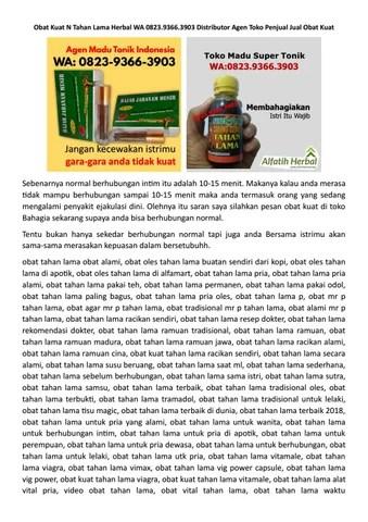 Obat Kuat Sederhana Buatan Sendiri : sederhana, buatan, sendiri, Tahan, Herbal, 0823.9366.3903, Distributor, Penjual, Obatkuatherbal4, Issuu
