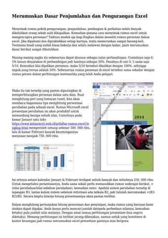 Rumus Excel Penjumlahan Dan Pengurangan Dalam Satu Kolom : rumus, excel, penjumlahan, pengurangan, dalam, kolom, Merumuskan, Dasar, Penjumlahan, Pengurangan, Excel, Mrteknopusat, Issuu