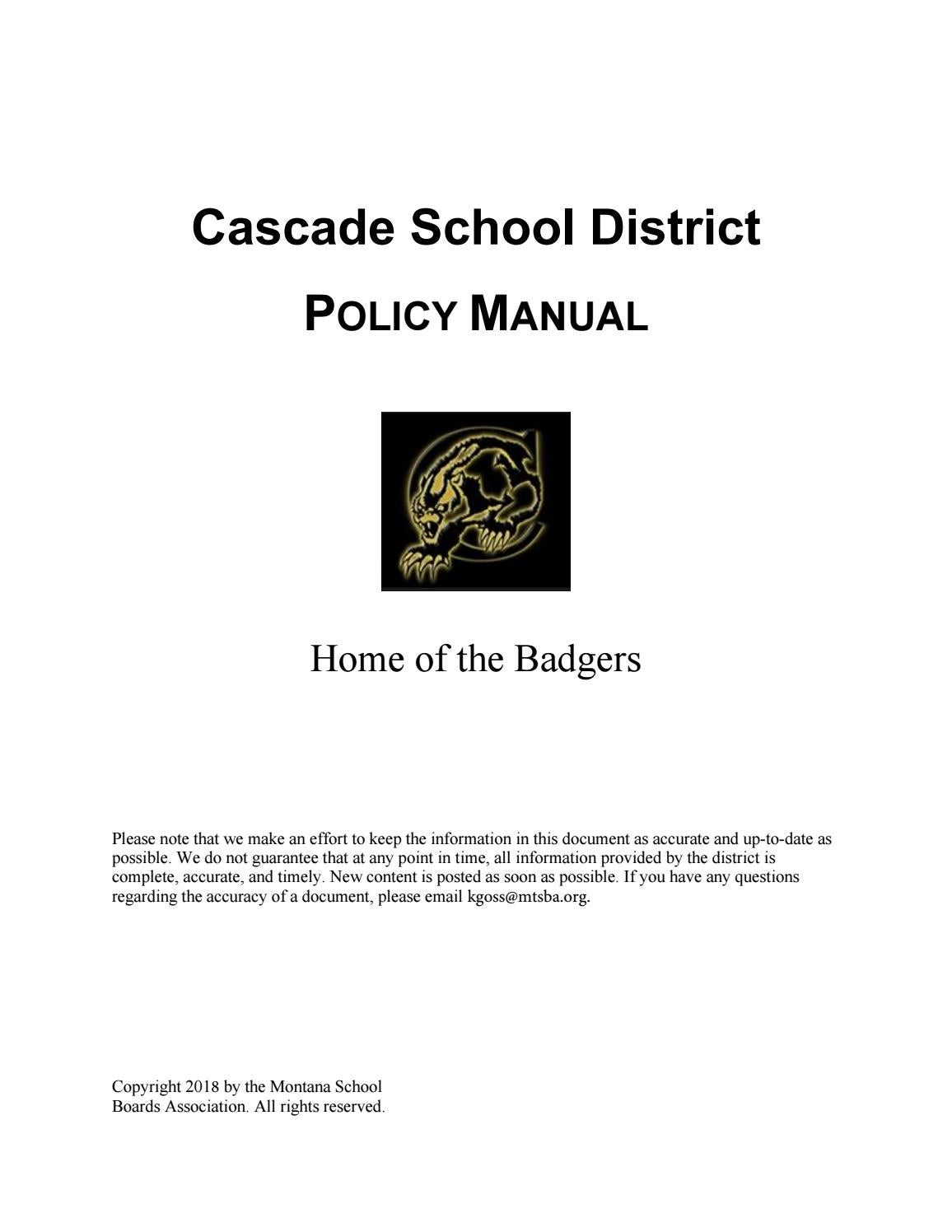 hight resolution of cascade public schools policy manual