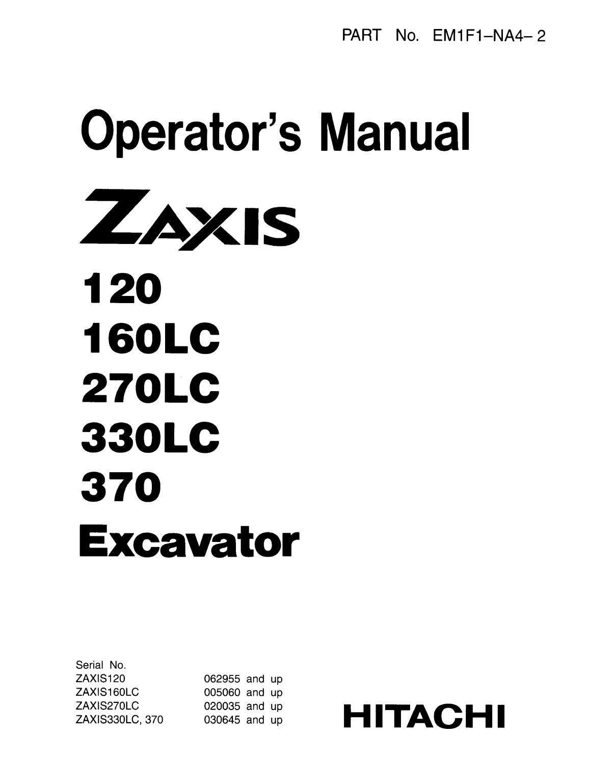 Hitachi Zaxis 370 Excavator operator's manual SN 030645