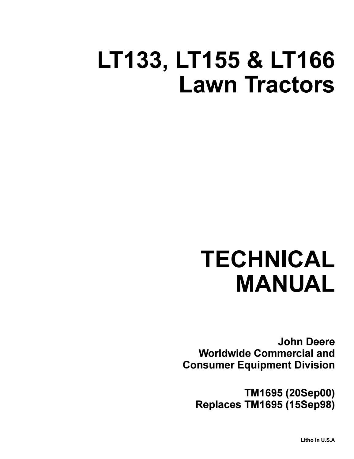 John Deere Lt 133 Wiring Diagram : deere, wiring, diagram, DEERE, LT133, GARDEN, TRACTOR, Service, Repair, Manual, 163114103, Issuu