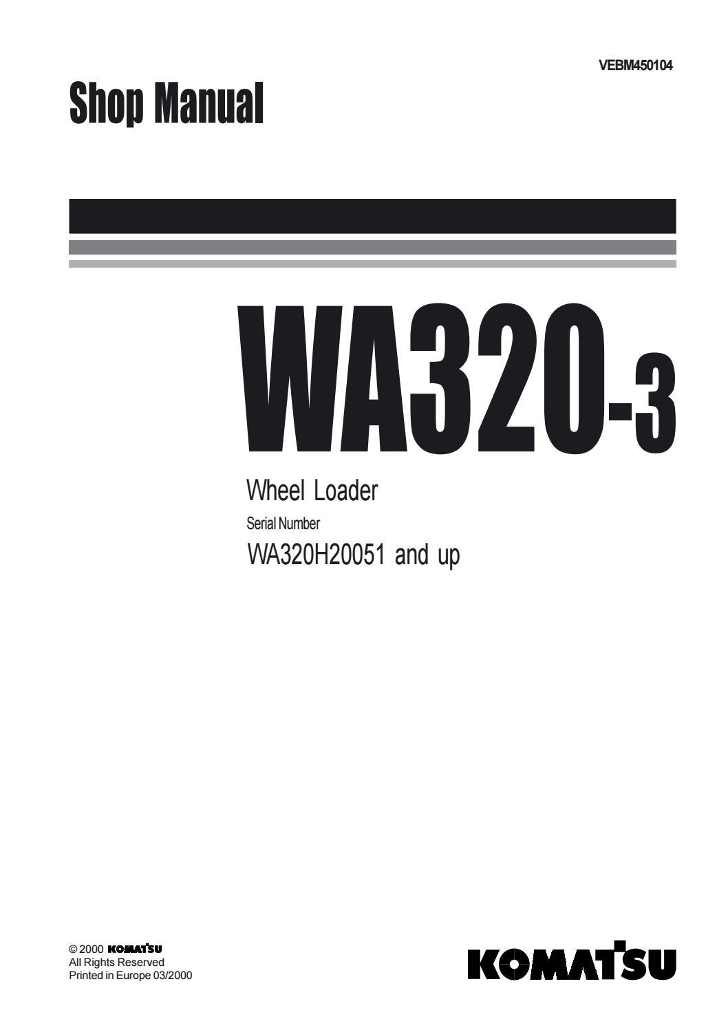 Komatsu WA320-3 Wheel Loader Service Repair Manual SN