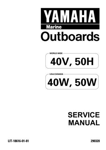 YAMAHA OUTBOARD 40VEO, 40ER Service Repair Manual L 842362
