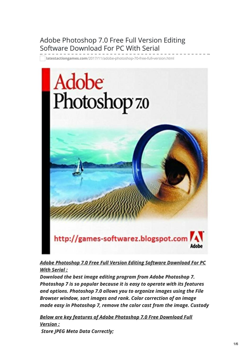 Adobe Photoshop 7 : adobe, photoshop, Adobe, Photoshop, Version, Editing, Software, Download, Serial, Latest-Action-Games, Issuu
