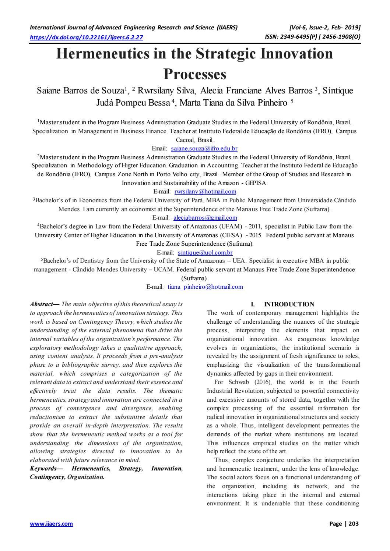 hight resolution of hermeneutics in the strategic innovation processes by ijaers journal issuu