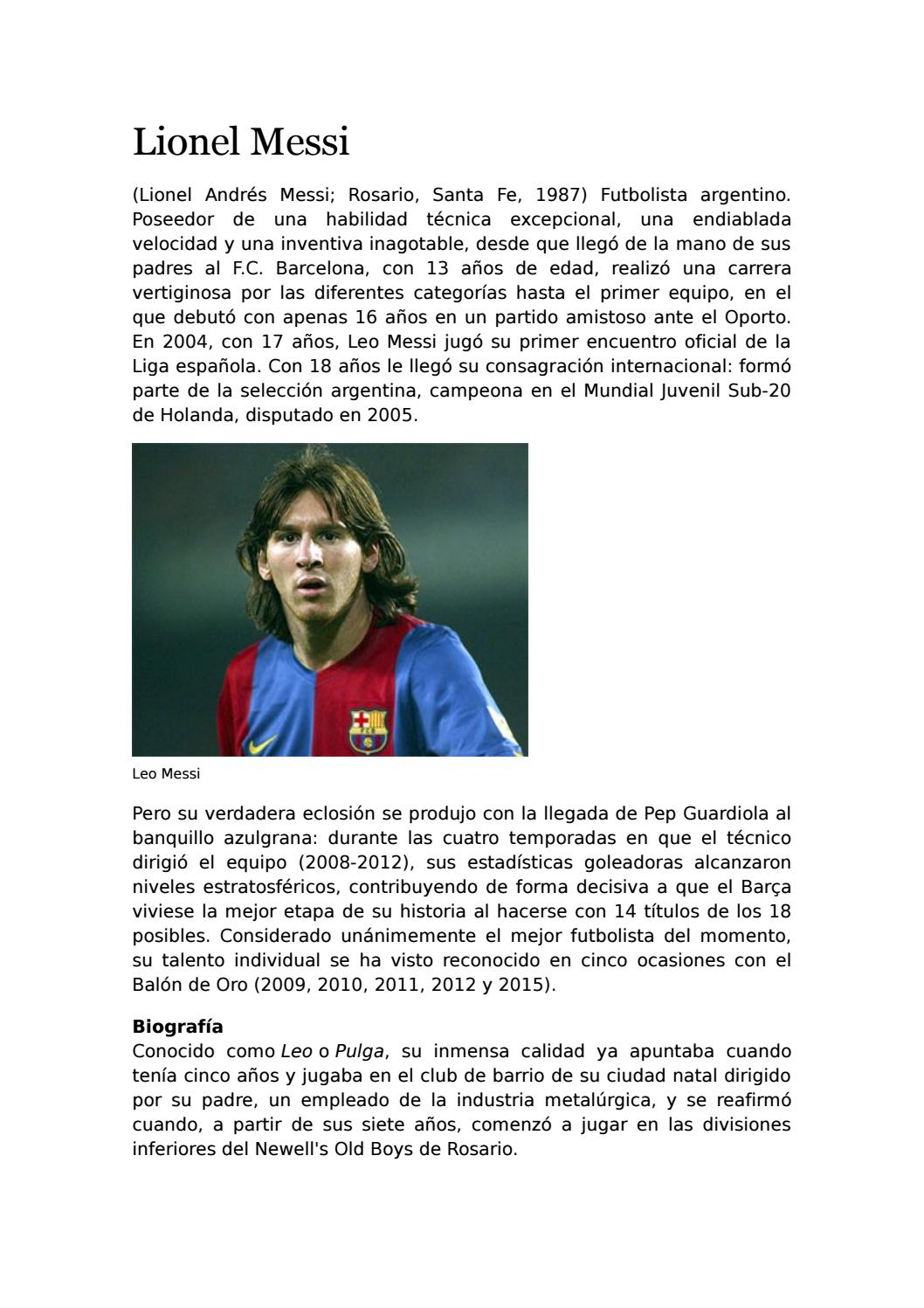 Messi Edad : messi, Historia, Biografia, Lionel, Messi, Hernán, Uzhca, Issuu