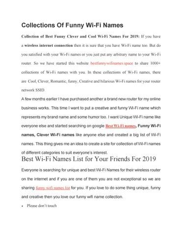 Clever Wifi Names Reddit : clever, names, reddit, Funny, Names, Reddit, Shubhangisrivastava2011, Issuu
