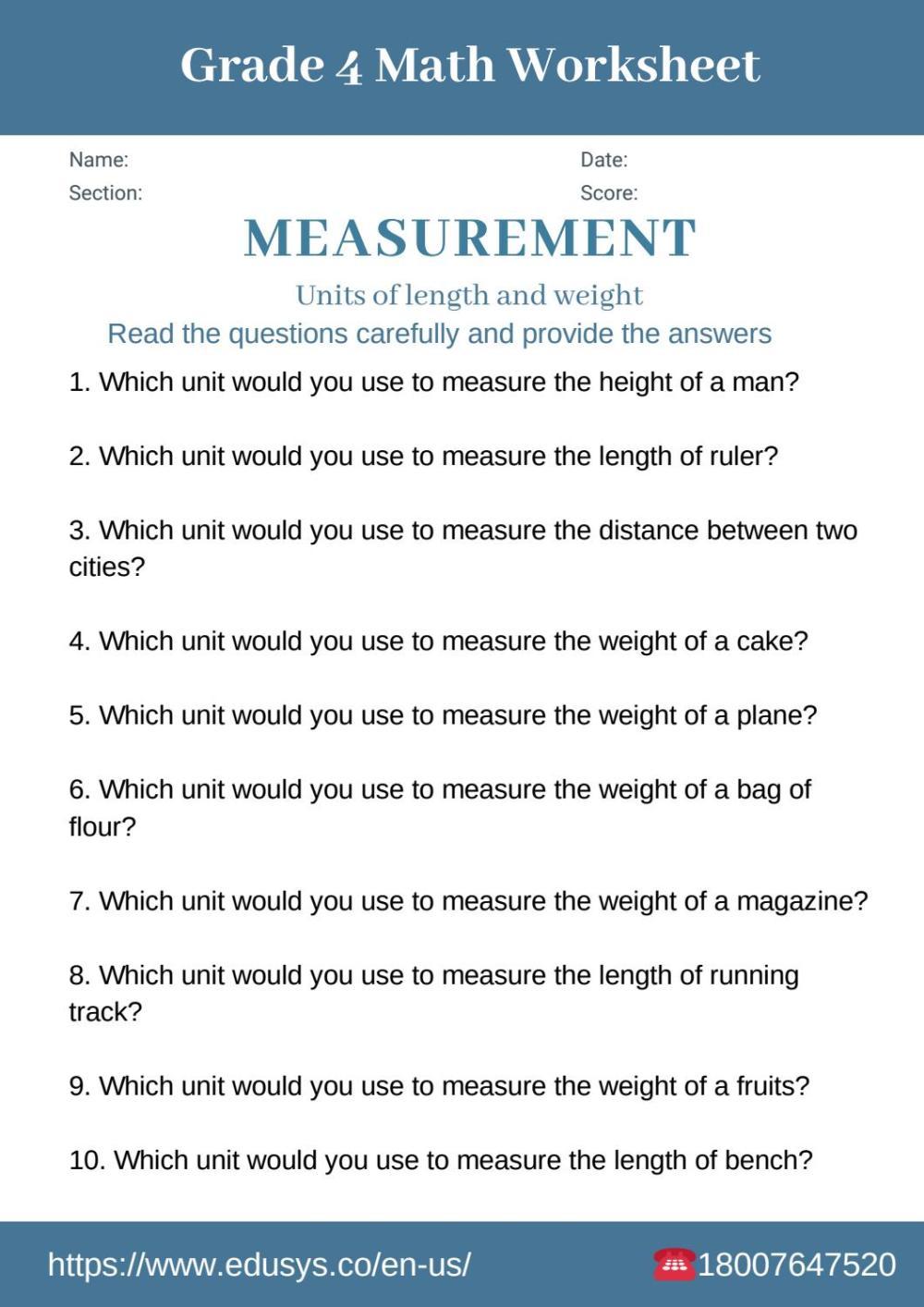 medium resolution of 4th grade math worksheet on measurements by nithya - issuu