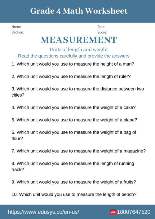 small resolution of 4th grade math worksheet on measurements by nithya - issuu